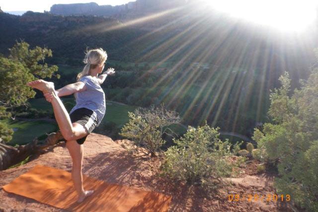 Yoga on the Sedona red rocks